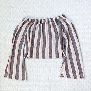 ZARA striped bell sleeved semi cropped knit top